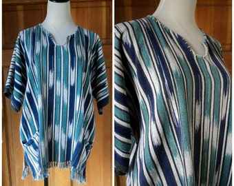 Vintage 70s Hippie Woven Shirt 1970s Fringe South America Cotton Lightweight Blanket Top Tribal Boho OS Unisex 54 chest
