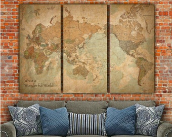 World Map WITH COUNTRIES Canvas Art, Vintage Map art, Map of World, World Map Wall art, travel map, Push pin map option, Push pin travel map