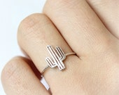 Cactus Ring / adjustable ring, choose your color- gold and silver, pink gold