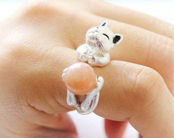 Cat and Ball Ring / adjustable ring, cat ring, kitty ring