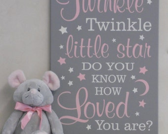 Twinkle Twinkle Little Star Do You Know How Loved You Are - Nursery Decor - Kids Nursery Wall Art - for Baby Shower Gift - Pink and Gray