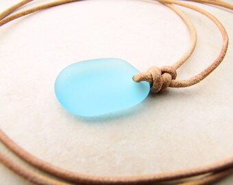 Sea Glass Necklace, Seaglass Necklace, Mermaid Necklace, Beach Necklace, Seaglass Jewelry, Mens Necklace,Leather Necklace,Beach Jewelry