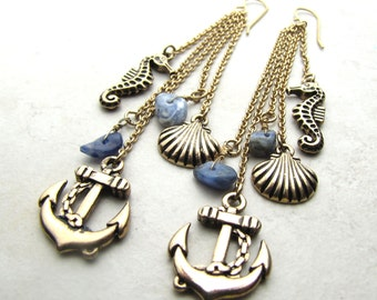 Beach Earrings, Ocean Earrings, Beach Fashion, Seashell, Sea Shell, Anchor, Seahorse, Sea Horse, Lapis, Mermaid, Gemstone, Dangle, Brass