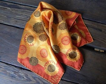 Vintage Vera Neumann Silk Scarf Orange Floral Motif from 1960s Made in Japan