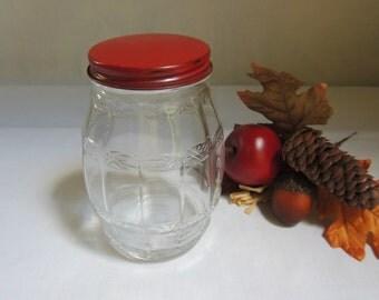 Vintage Barrel Shaped Glass Jar with Red Metal Lid / Glass Candy Jar with Red Metal Lid / Glass Jar with Metal Lid/ Hoosier Style Glass Jar