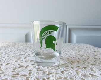 MSU Spartan Shot Glass - MSU Alumni, MSU Fans, Bartenders, Man Cave, Father's Day, Collectible