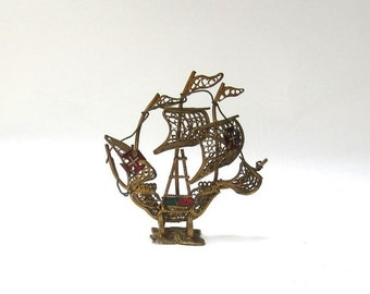 ON SALE Vintage Portugese filigree brass and enamel galleon ship souvenir