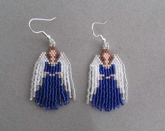 Beaded Angel oorbellen blauw