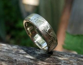 Mokume gane wedding band wood grain 14k palladium white gold and sterling
