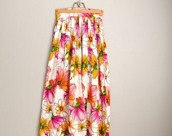 """vintage 60s pink orange flowers maxi floral skirt -- womens xsmall-- size 0 -- 25"""" waist"""