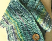 Turquoise Blue, Lavender Handwoven Scarf, Buttoned