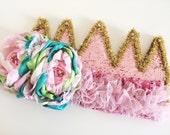 Sparkle crown gold , pink , ivory , Aqua  ( birthday crown , princess crown , cake smash , prop ) by Austenland