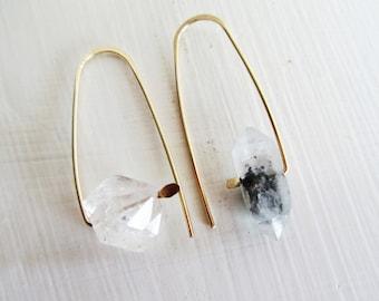 Boho Raw Crystal Medley Earrings - Crystal Quartz- Tibetan Quartz - Unique -One of a Kind
