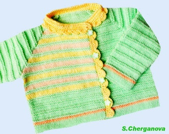 Discount! Knitted baby sweater, baby sweater, knitted baby clothes,  knitted baby cardigan, green baby jacket,  READY TO SHIP