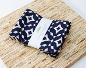 Large Cloth Napkins - Set of 4 - (N4451) - Navy Ikat Modern Reusable Fabric Napkins
