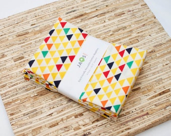 Eco-Friendly Large Cloth Napkins - Yellow Triangles Geometric Modern Fabric Napkins Set of 4 - (N2475)