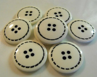 10 White with Black Stitches Large Round Buttons Size 1""