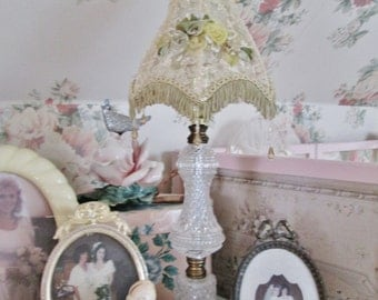 shabby chic lamp and shade vintage cottage lighting decor shabby style lace lamp shade