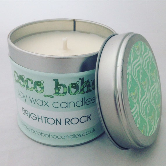 BRIGHTON ROCK scented soy wax large tin candle 200g