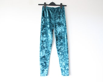 Velvet Feel Blue Leggings