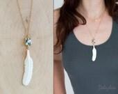 Bone Feather Necklace - Ocean Jasper - Layering Necklace - Bohemian Necklace - Boho Hippie Chic Necklace - Tribal Jewelry