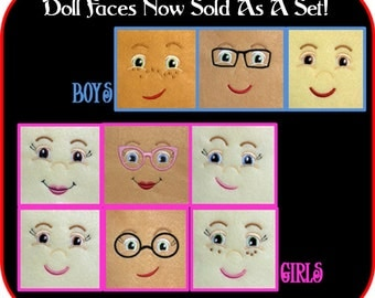 Doll Face Embroidery Machine Design Set