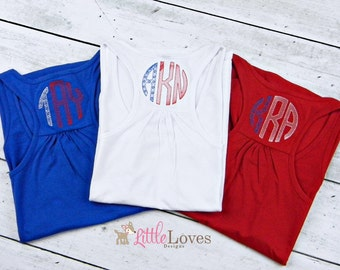 Monogrammed Tank Top- Womens Monogrammed Tank- 4th of July Shirt- Embroidered Tank