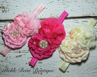 GIRLS Flower Headband, Pearl Satin Flower, Baby Toddler Head band Kids Hairband Birthday Photo Prop, Hot Pink, Ivory, Pink, 6 mo-18 mo