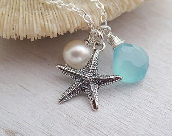 Starfish Necklace, Aqua Chalcedony, White Freshwater Pearl, Sterling Silver Starfish Pendant, Gift Under 40