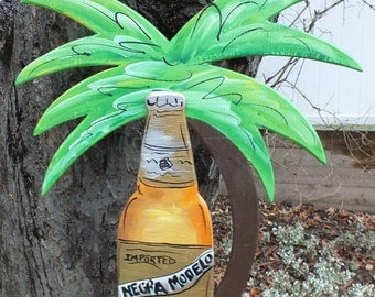 NEGRA MODELLA -  Tropical Paradise Beach House Parrothead Pool Patio Tiki Hut Bar Drink Handmade Wood Sign Plaque