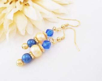Ivory Freshwater Pearl Earrings, Sky Blue Beaded Earrings, Gold Pearl Drop Earrings, Clip On Wedding Earrings, Bridesmaids Gift, Nickel Free