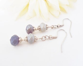 Purple and Gray Earrings, Bridesmaids Earrings, Faceted Glass Drop Earrings, Beaded Earrings, Wedding Earrings, Clip On, Lavender Earrings