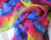 Rainbow - Brightly coloured - Shibori Dyed Silk Chiffon Scarf