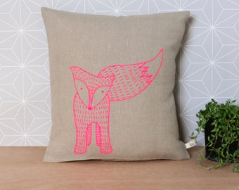 Fox Pillow cover - Decorative pillow with a neon pink fox on natural linen - Ready To ship