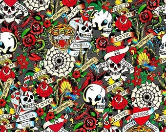 Ed Hardy Love Is True Packed Skulls & Hearts Grey premium cotton fabric from Quilting Treasures - skulls, tattoo, roses
