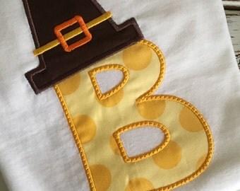 Pilgrim Hat Initial Thanksgiving Onesie/T-shirt