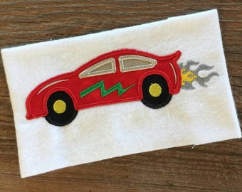 Race Car Applique Embroidery Design 5x7 6x10 8x12