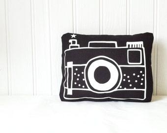 CAMERA cushion, retro black camera print on black cotton canvas, monochrome nursery decor, kids room cushion