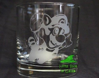 Tanooki Mario Rocks Glass