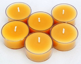 6 pack of Hand poured, Pure Australian Beeswax Tea Light Candles