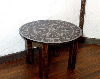 Viking Runes Table, Medieval Dollhouse Miniature 1/12 Scale, Hand Made