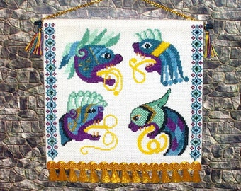 Book of Kells Beasts Tapestry, Medieval Dollhouse Miniature 1/12 scale, Sea Monsters, Hand Made in the USA