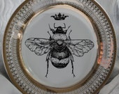 Beautiful Gold Queen / Royal Crown Bee Dinnerware / Plates, Bumblebee Dishes, Honeybee, Discounts on Larger Orders, Payment Plans Available