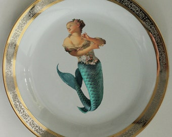 Silver or Gold Mermaid Plates / Dishes, Nautical Plates, Nautical Sea Dinnerware, Siren Plate, Marie Antoinette French Shabby Ocean Sea Life
