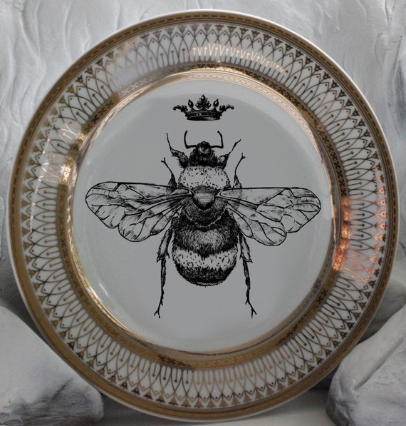 Beautiful Gold Queen / Royal Crown Bee Dinnerware / Plates Bumblebee Dishes Honeybee : beautiful plates dinnerware - pezcame.com