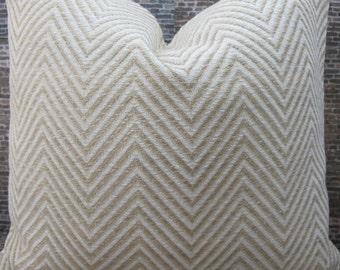 Deisgner Pillow Cover - 18 x 18 Herringbone Ivory