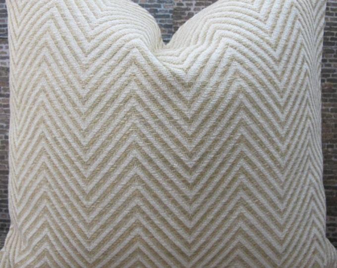 Deisgner Pillow Cover - Lumbar, 16 x 16, 18 x 18, 20 x 20, 22 x 22 , 24 x 24 Kravet Entrigued Herringbone Ginger