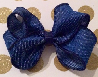 4 inch denim hair bow~ original design by Nashville Bow Company