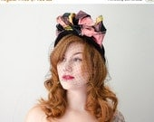 25% OFF SALE / 1940s vintage hat / black wool hat with pink plaid taffeta bows / New York Creations