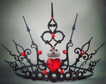 Ultimate Hearts - Gothic Tiara Queen of Hearts Crown Queen of Hearts Tiara Queen of Hearts Cosplay Filigree Crown Halloween Costume